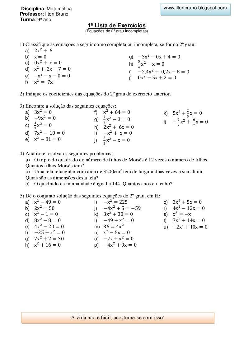 Equações do 2.º Grau ou Equações Quadráticas