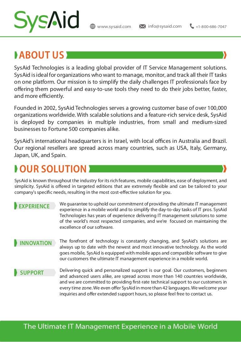 SysAid Company Profile