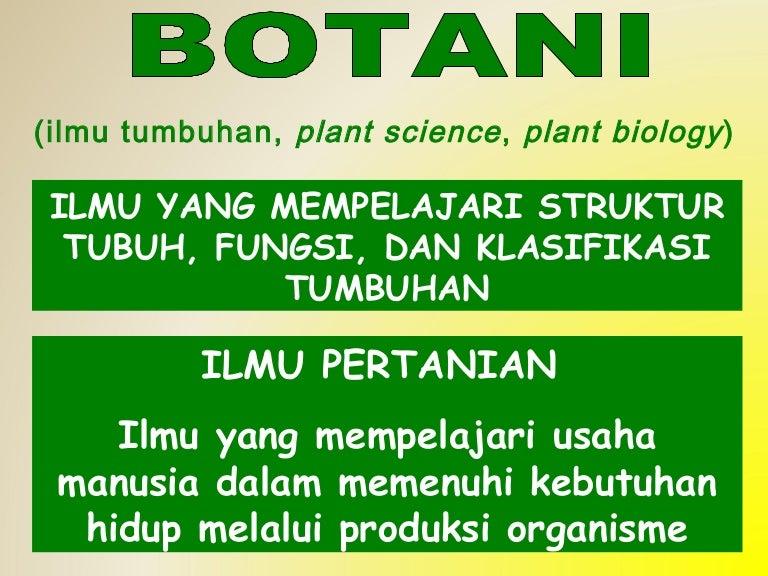 Botani Adalah Ilmu Yang Mempelajari Tentang