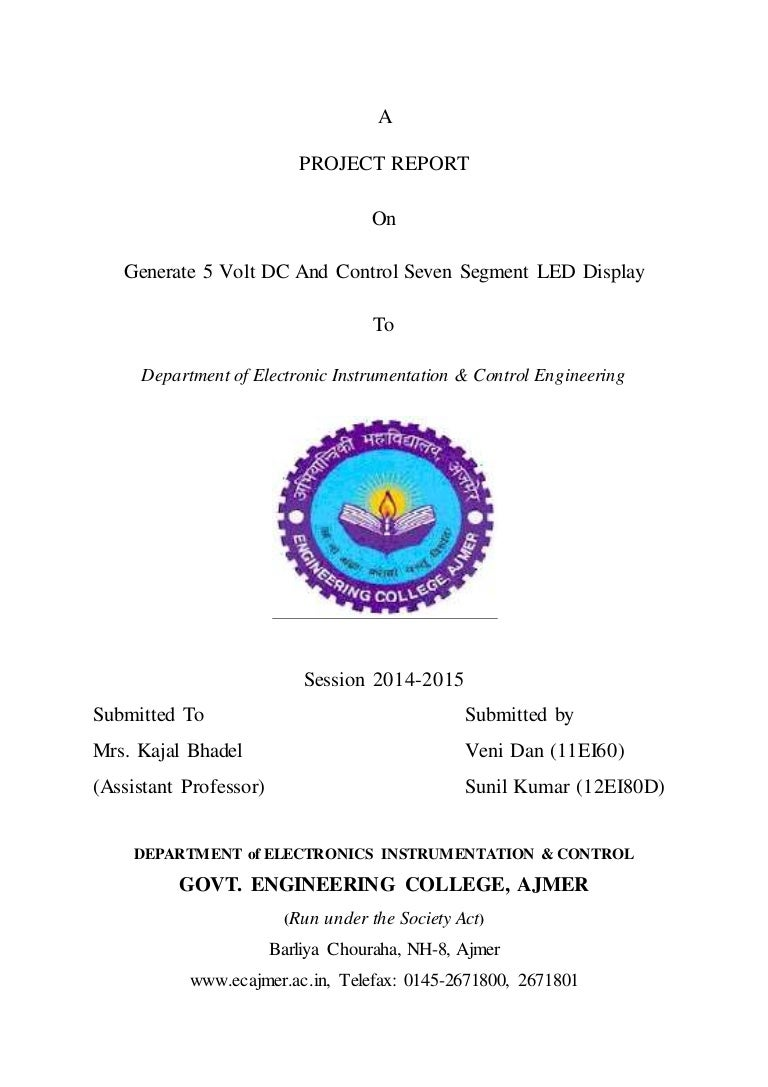 First Page Of Report  Synopsis Of Govt Engineering College