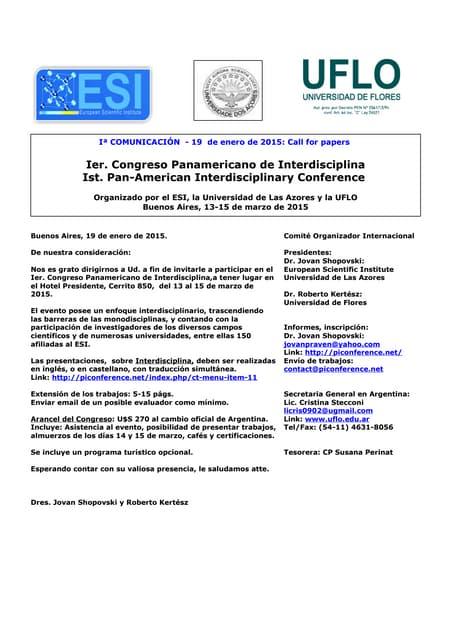 Ier Congreso Panamericano de Interdisciplina