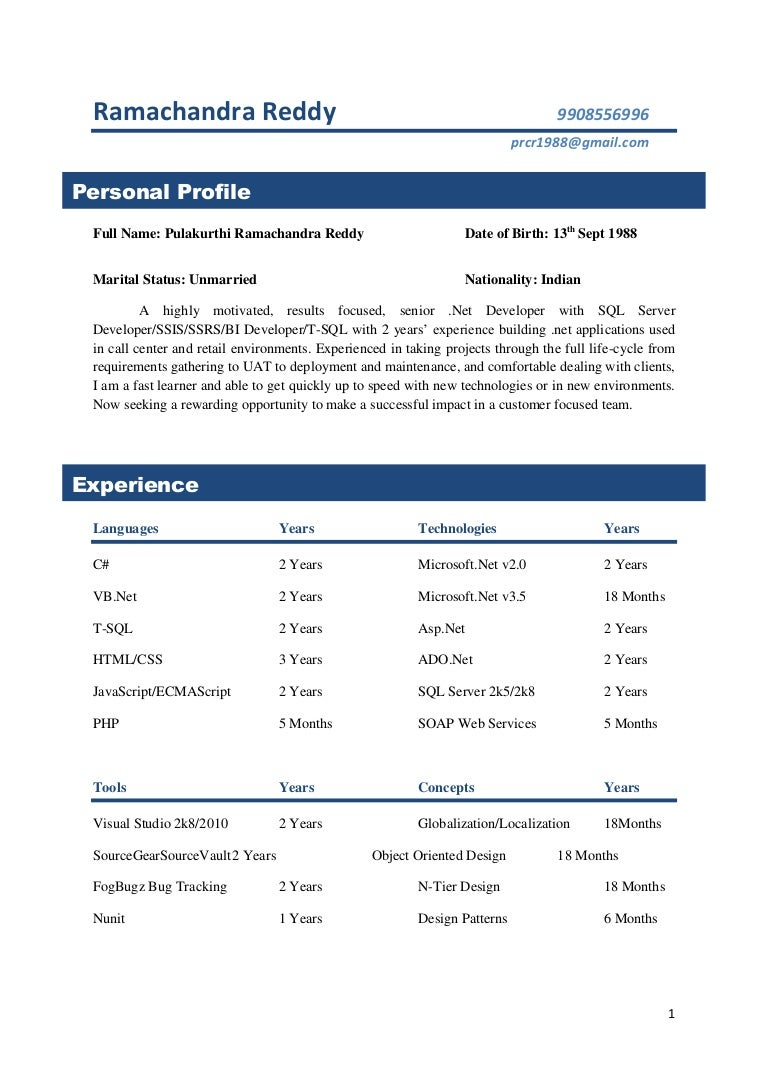 2 Yrs Experience Resume Samples - Professional Resume Templates •
