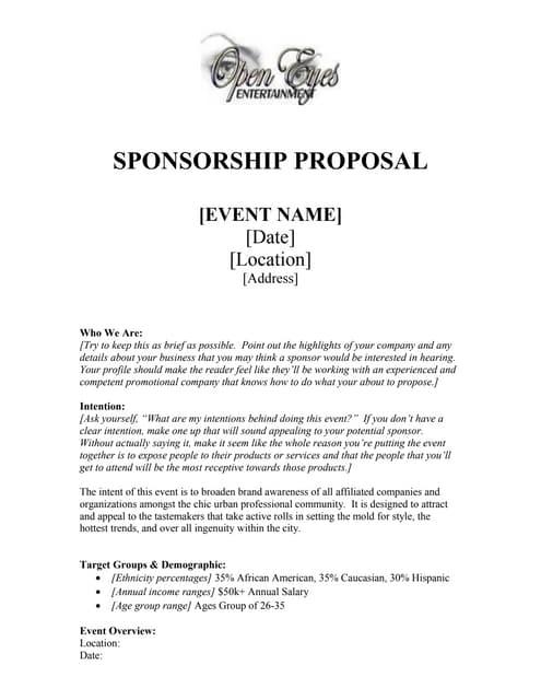 Proposal Sample Of Sponsorship Letter