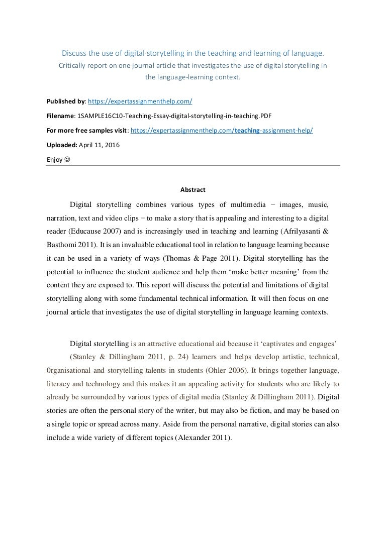 report on use of digital storytelling in language learning