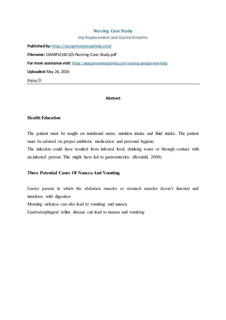 Nursing Assignment Sample on Nursing Case Study