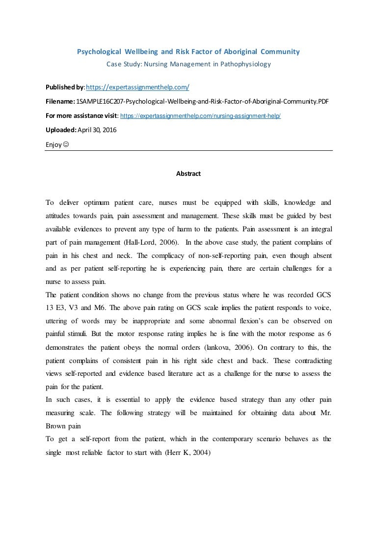 case study nursing management in pathophysiology
