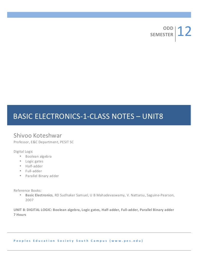 1sem Basic Electronics Notes Unit8 Digital Logic Half Adders And Full