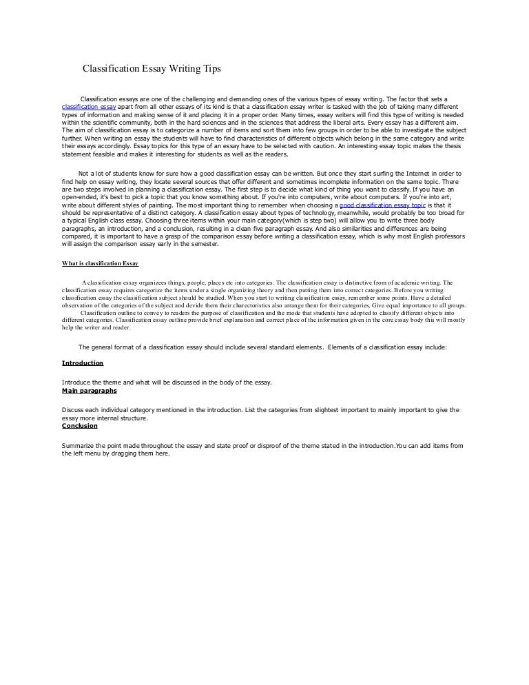 classification essay about food