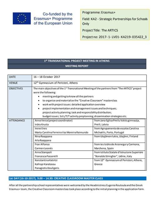 1st transnational meeting report