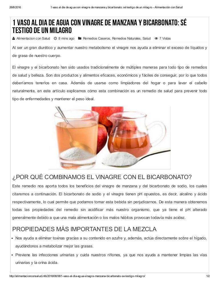 Bajar de peso con bicarbonato de sodio y vinagre de manzana