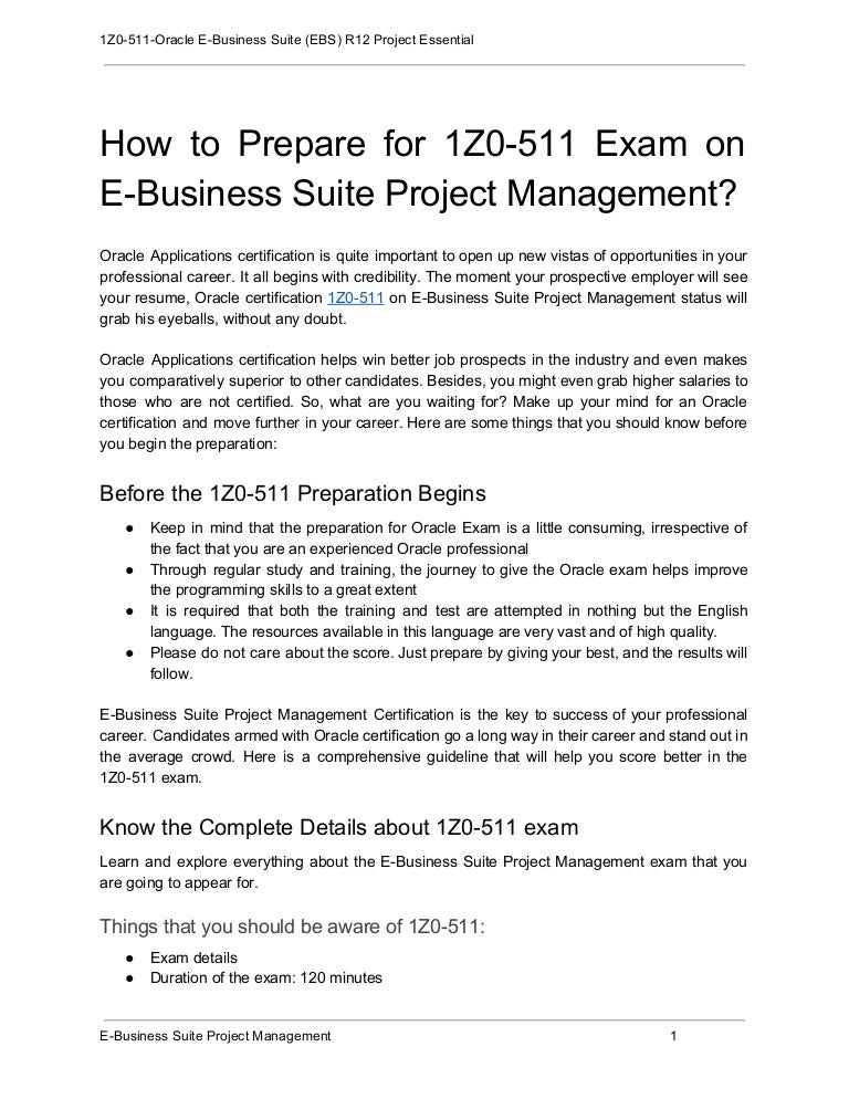 How To Prepare For 1z0 511 Exam On E Business Suite Project Management