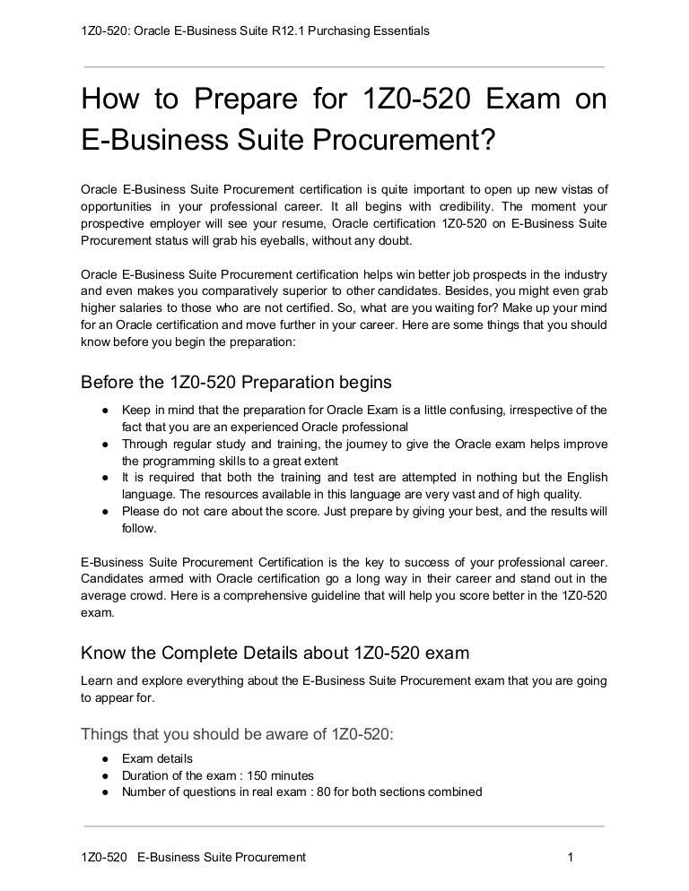 1z0 520 Exam Guide And How To Crack Exam On E Business Suite Procurem