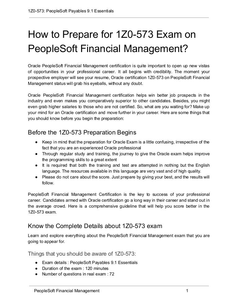 How To Prepare For 1z0 573 Exam On Peoplesoft Financial Management