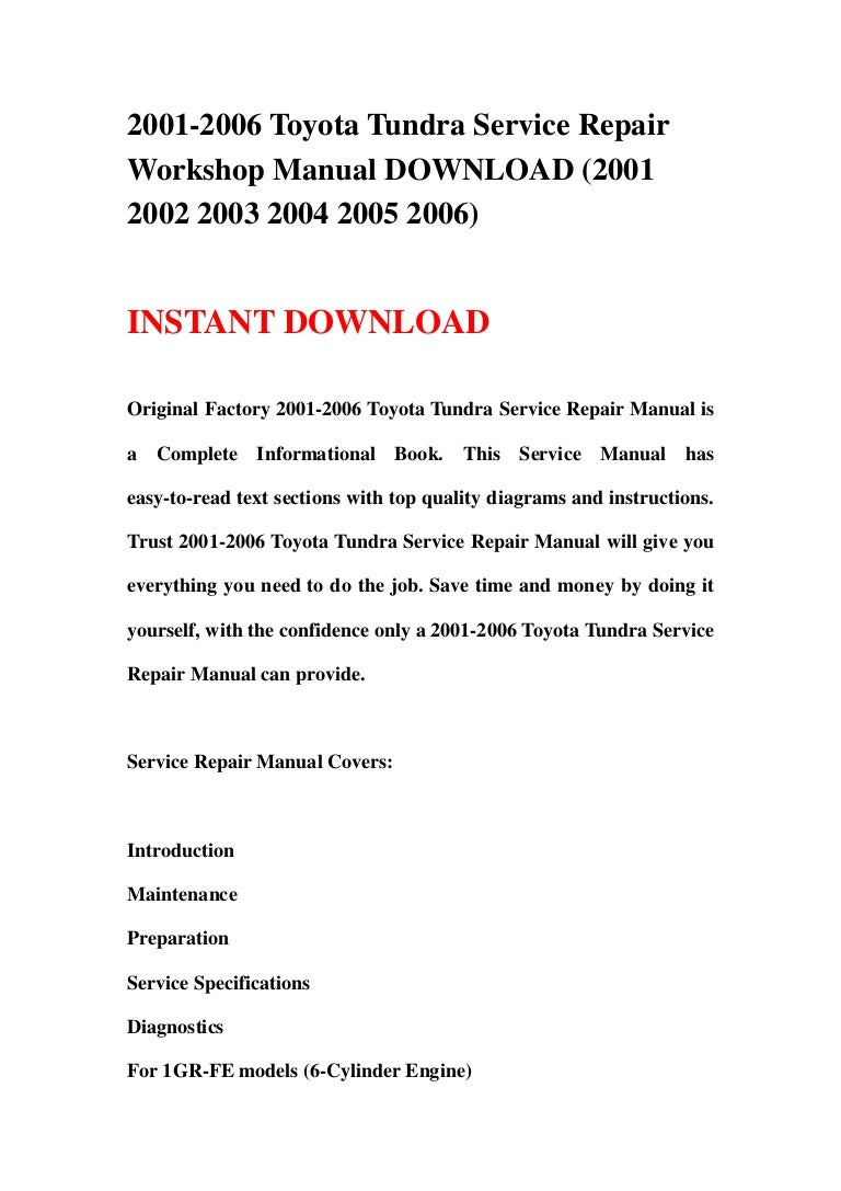 2001 2006 Toyota Tundra Service Repair Workshop Manual Download Wiring Diagram For 05