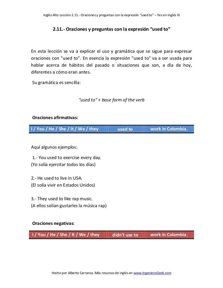 """2 11  oraciones y preguntas con la expresión """"used to"""""""