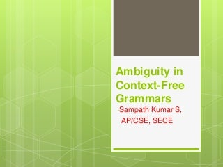 2.5 ambiguity in context free grammars