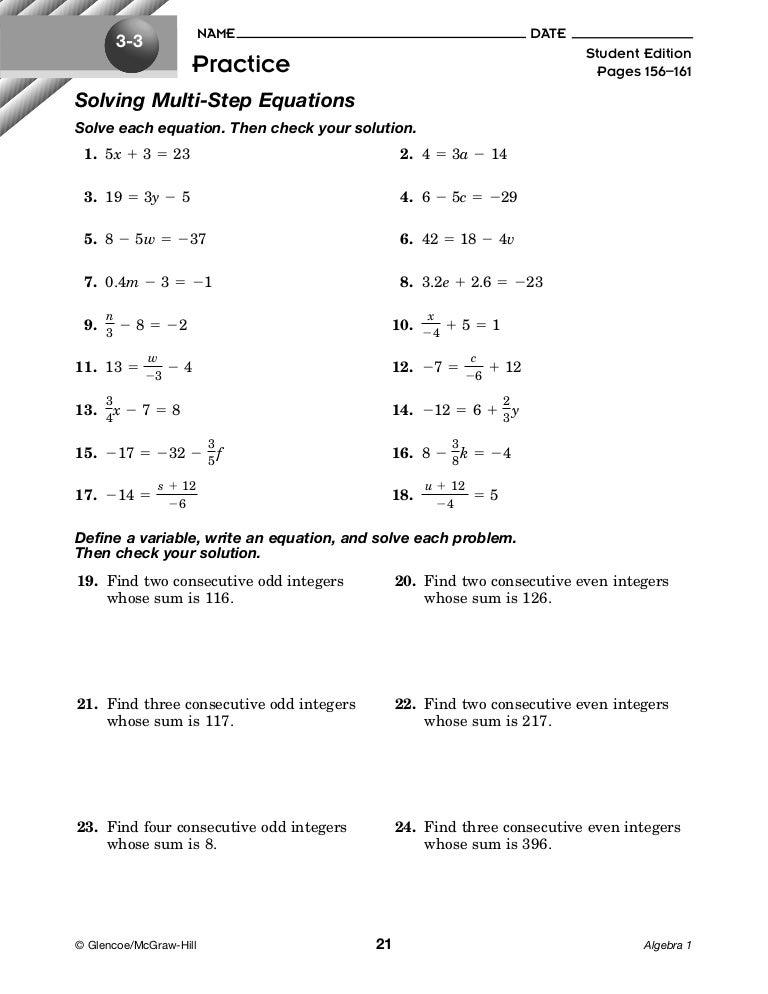 2 2-1 Solving Multi-step Equations Hw