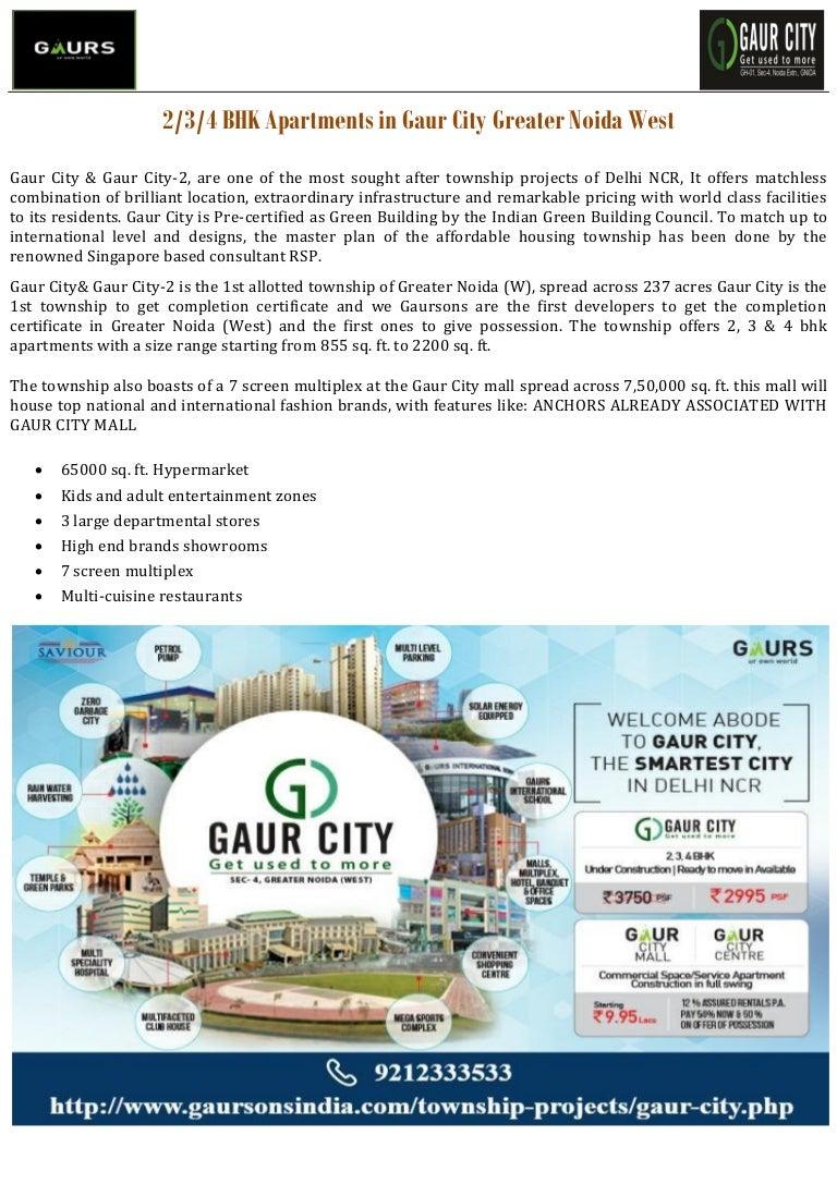 2/3/4 BHK Apartments in Gaur City Greater Noida West