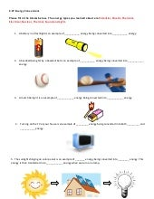 Illustrations Of Energy And Energy Transformations Worksheet ...