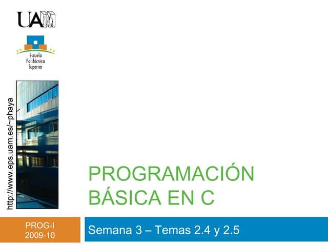 Tema 2  - Programación básica en C (II)