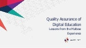 Quality Assurance Digital Education: Lessons from the Maltese Experience