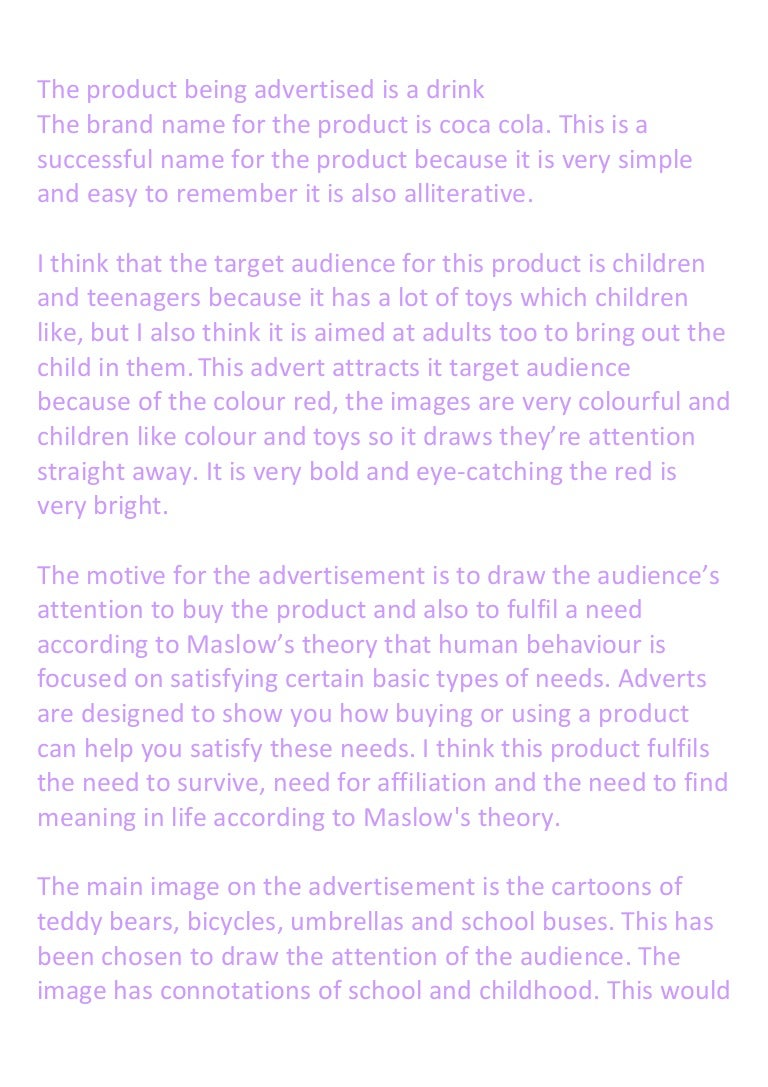 written analysis on coca cola advertisment