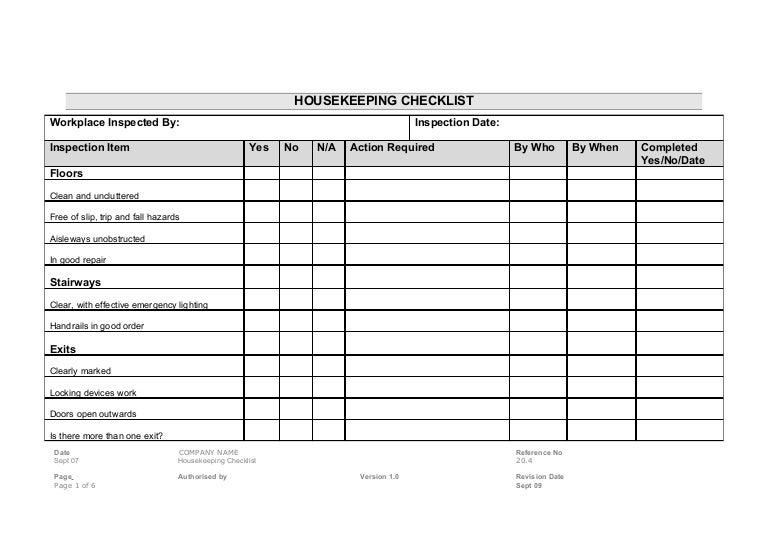 Housekeeping Checklist Form  CityEsporaCo