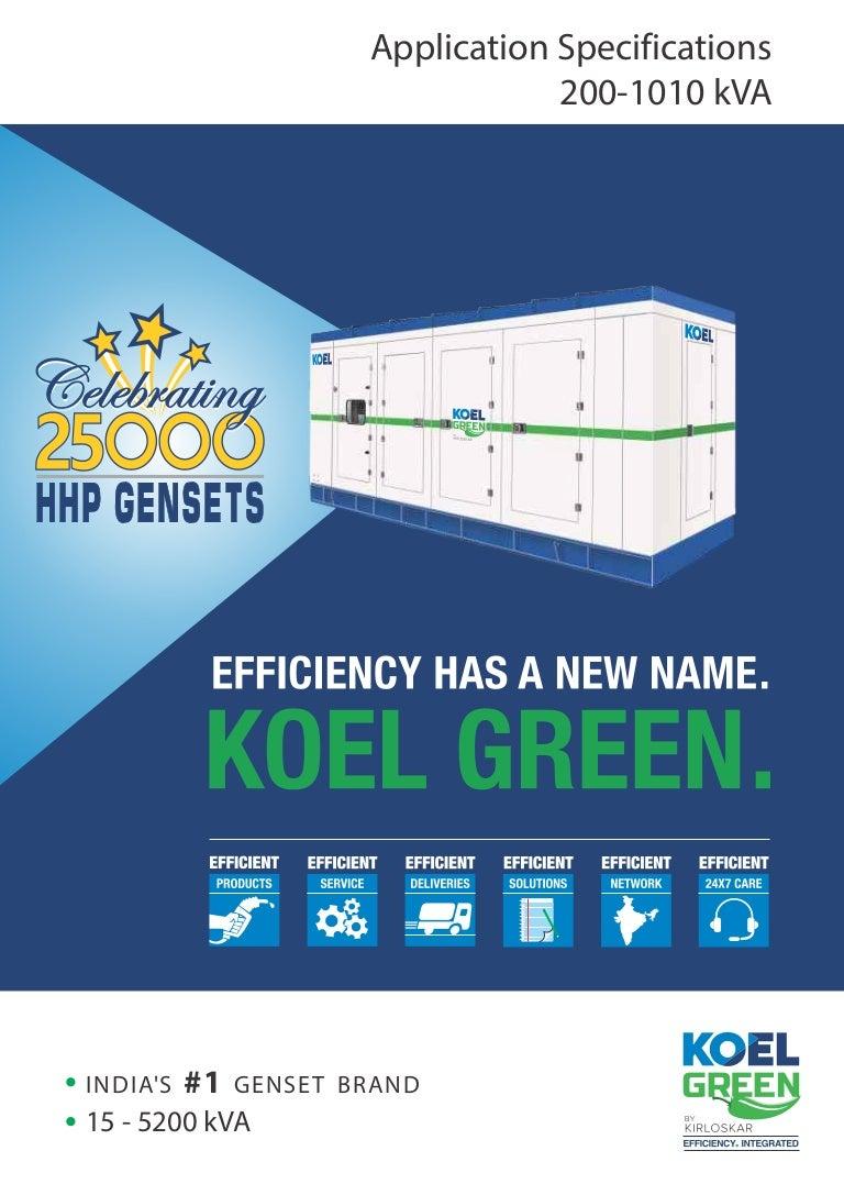 koel green by kirloskar dg gensets 200 kva 1010 kva specification rh slideshare net