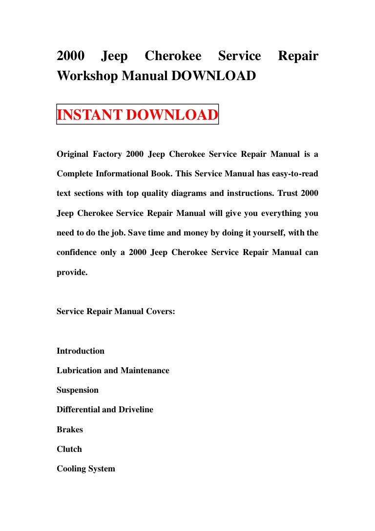 1999 jeep cherokee service repair workshop manual download