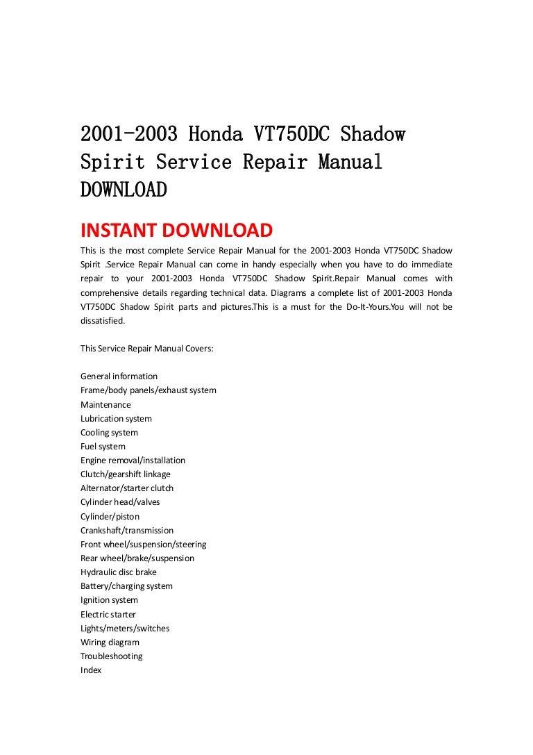 2001 2003 Honda Vt750 Dc Shadow Spirit Service Repair Manual Download Alternator Wiring Diagram