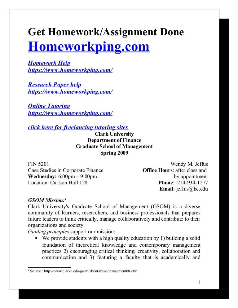 syllabus case studies in corporate finance