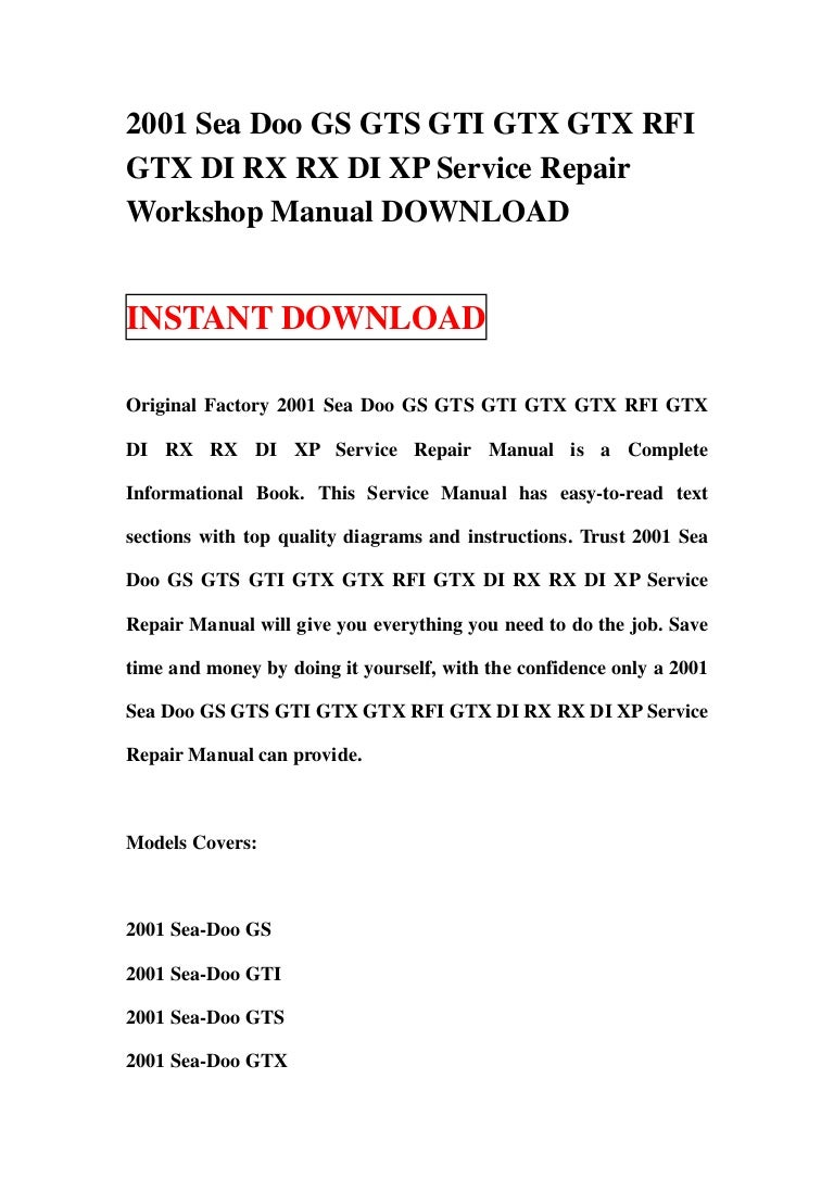 Seadoo Gsx Manuals 20012006 Mitsubishi Pajero Service Repair Workshop Down Array 2001 Sea Doo Gs Gts Gti Gtx Rfi Di Rx Shop Manual Product