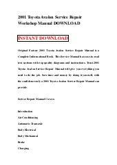 Toyota Avalon 1995 2013 Service Repair Manual Pdf Download