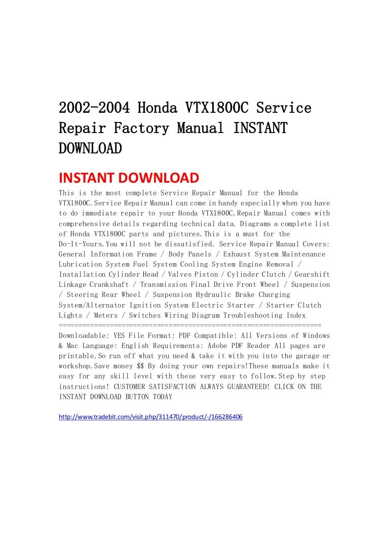 2002 2004 Honda Vtx1800 C Service Repair Factory Manual Instant Downl Vtx 1800 Wiring Schematic