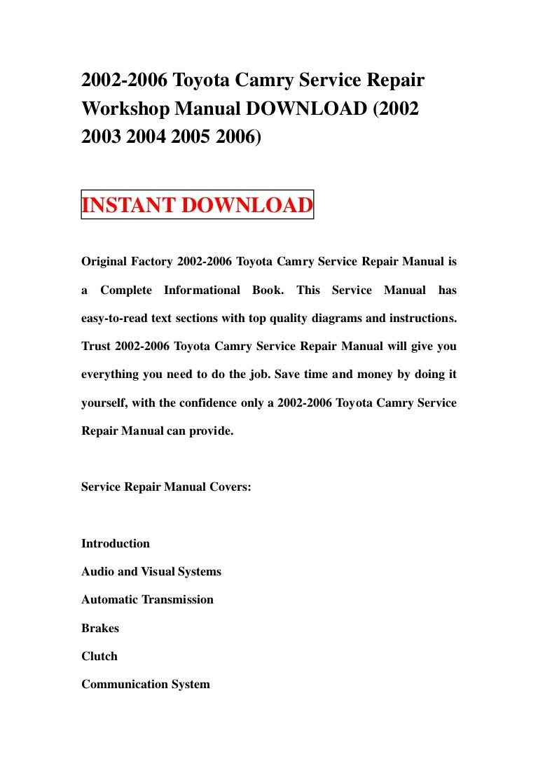 2002 2006 Toyota Camry Service Repair Workshop Manual Download Le Engine Diagram