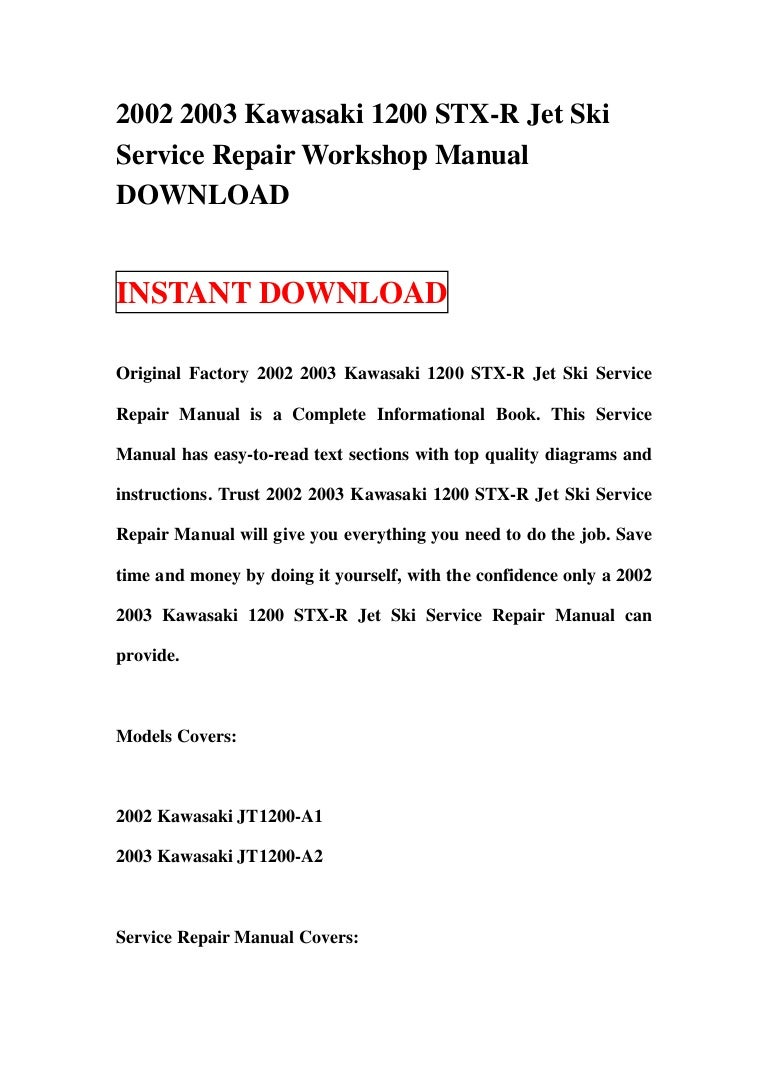 2002 2003 Kawasaki 1200 Stx R Jet Ski Service Repair Workshop Manual 2001 Wiring Diagram