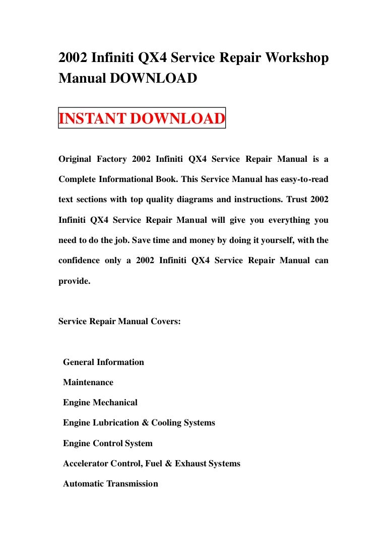 2002 Infiniti Qx4 Service Repair Workshop Manual Download Air Conditioning  System Diagram Qx4 Engine Diagram Cooling System
