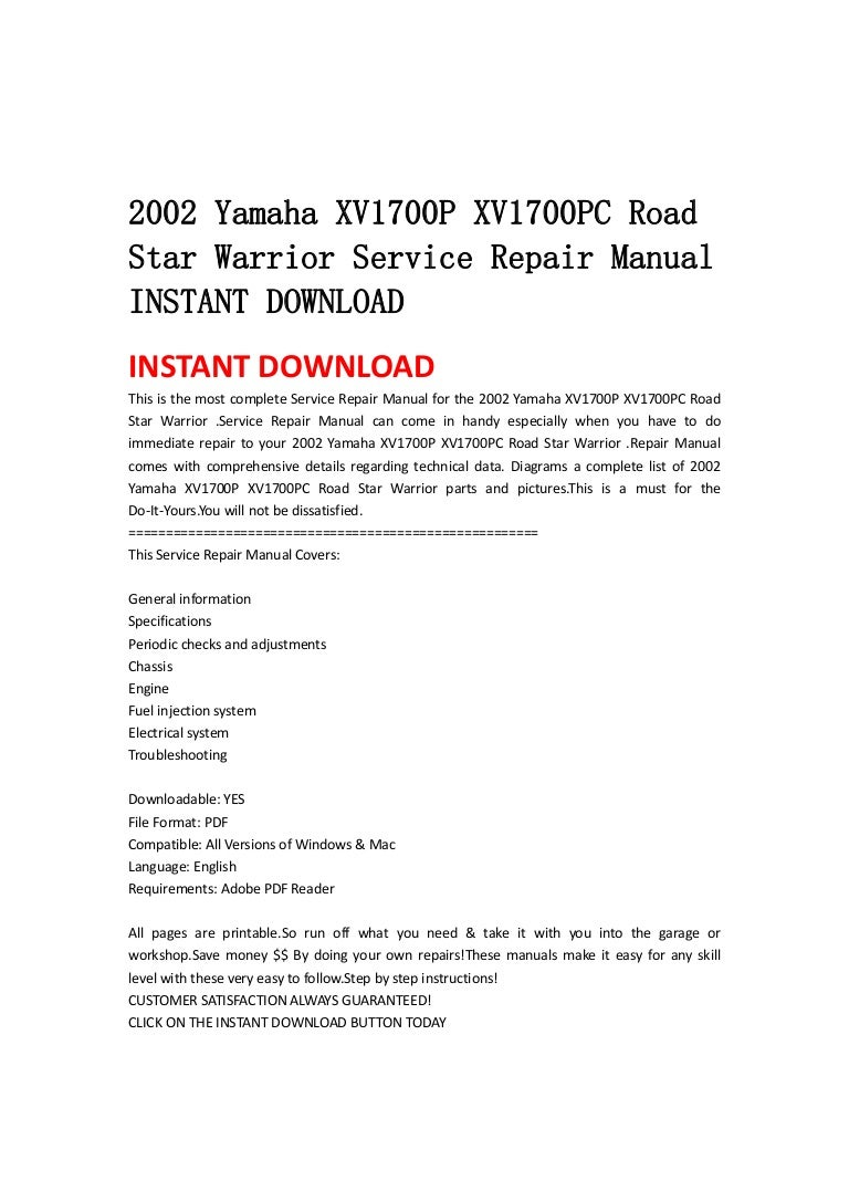 2002 Yamaha Xv1700 P Xv1700pc Road Star Warrior Service Repair Manual U2026