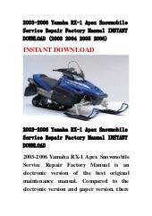 yamaha rx 1 snowmobile full service repair manual 2003 2006