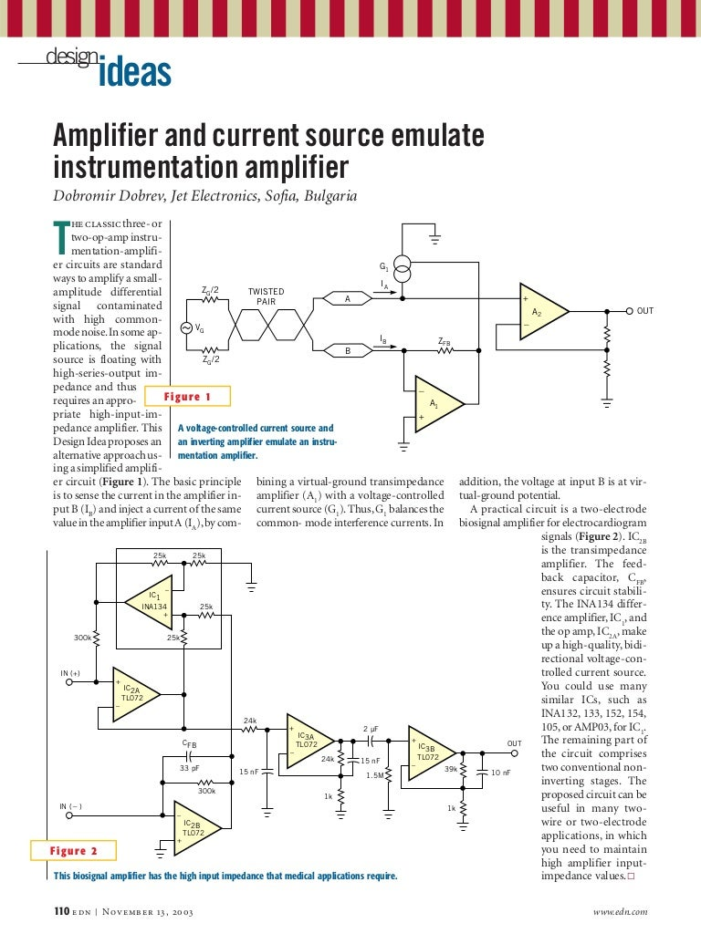 2003 Amplifier And Current Source Emulate Instrumentation Software Three Opamp Circuit Simulation