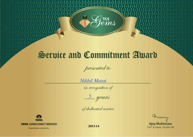 TCS 5 year Certificate