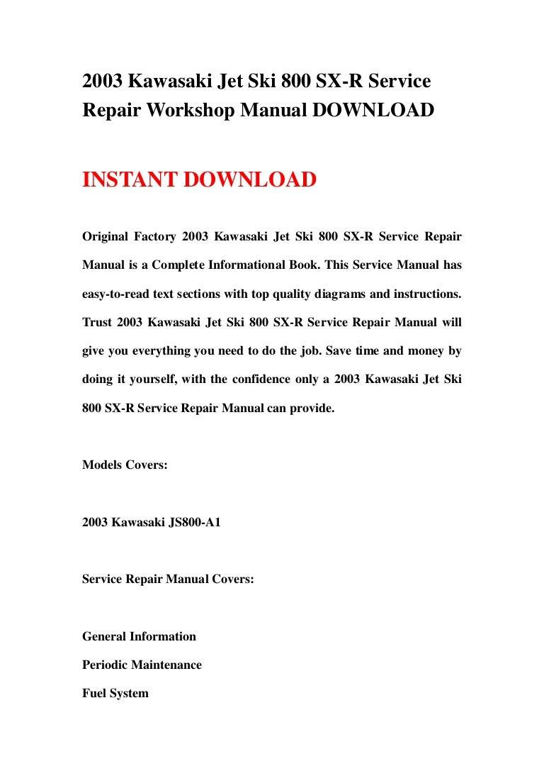 2003 Kawasaki Jet Ski 800 Sx R Service Repair Workshop Manual Download 360 Engine Diagram