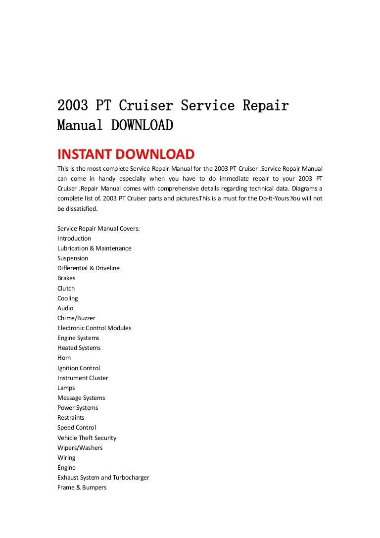 2003 pt cruiser service manual