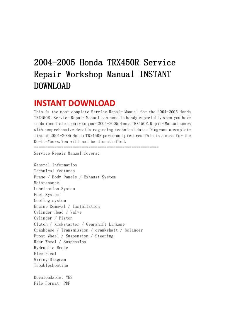 2004 2005 Honda Trx450 R Service Repair Workshop Manual Instant Downl Trx450er Wiring Diagram