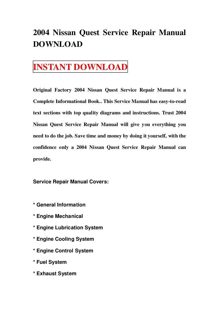 2004 nissan quest service repair manual download vanachro Choice Image