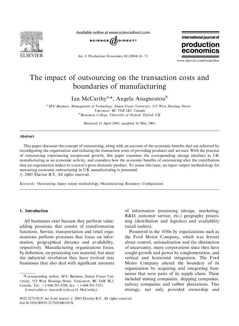 the impact of outsourcing on the transaction costs and boundaries of …