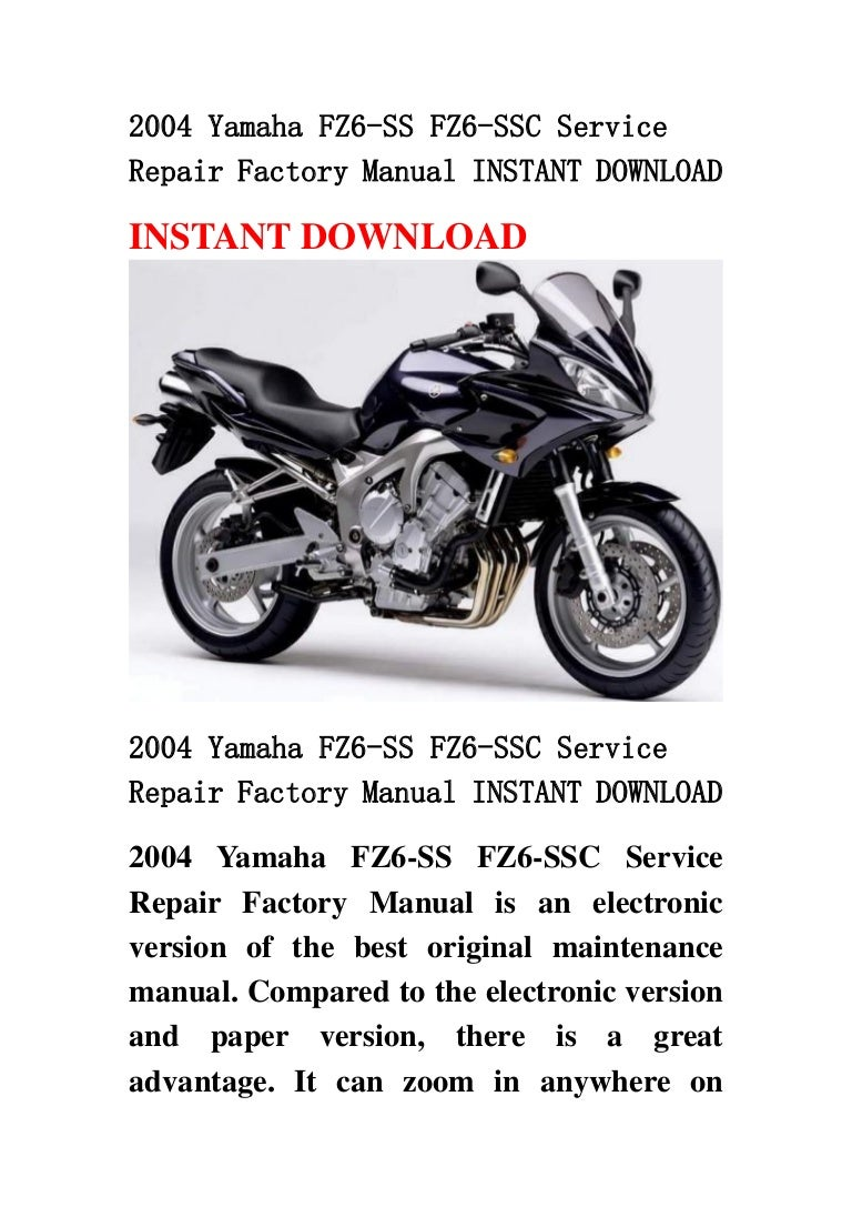 Yamaha fz6 service manual free download