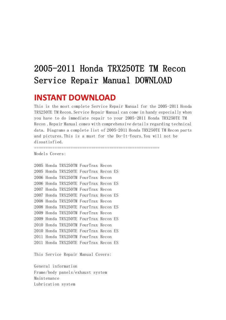 Wiring Diagram 2007 Honda Trx 250 Te Fuse Box 1986 Fourtrax 2005 2011 Trx250 Tm Recon Service Repair Manual Download Rh Slideshare Net 98 Accord