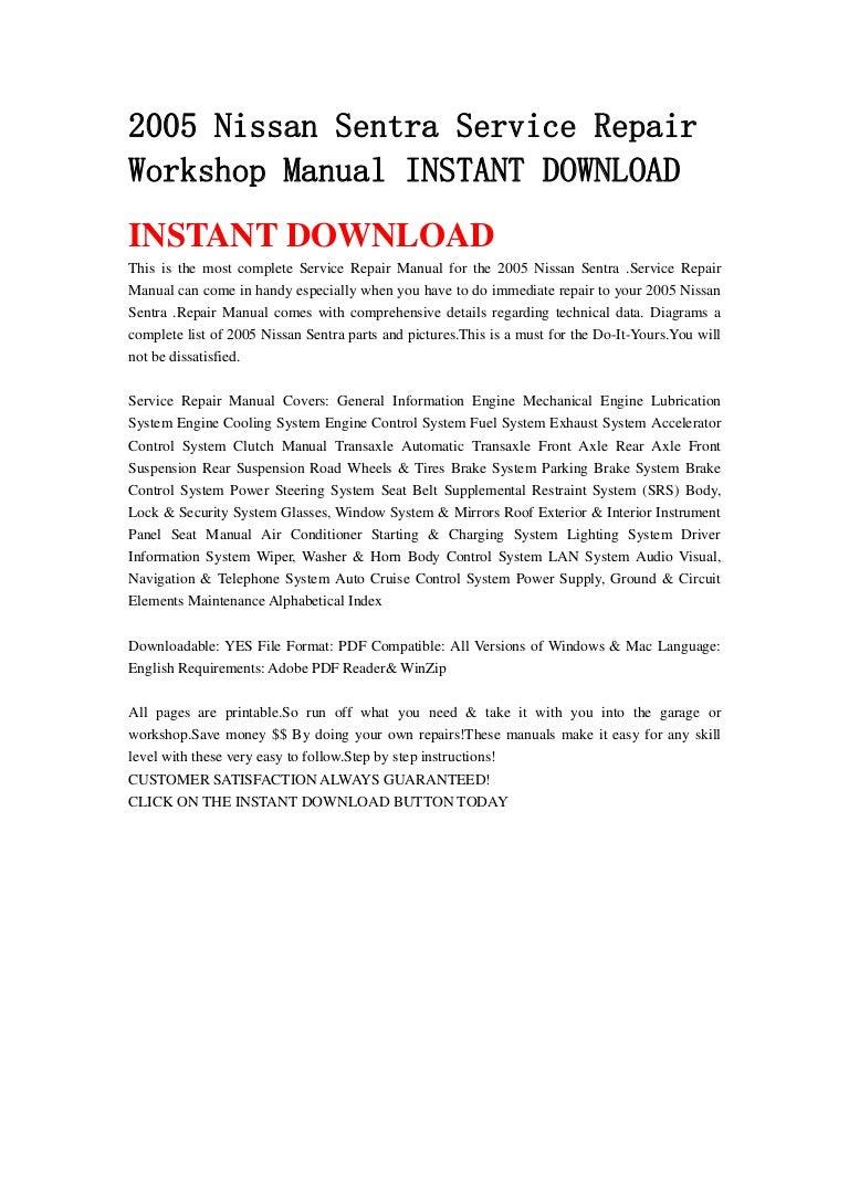 nissan sentra workshop manual