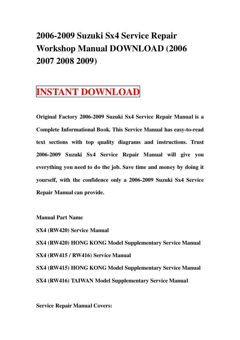 2008 Suzuki Sx4 Service Manual Pdf Owners Book Fuse Box 2006 2009 Repair Download 2007 2 Rh Slideshare Net Exhaust Diagram